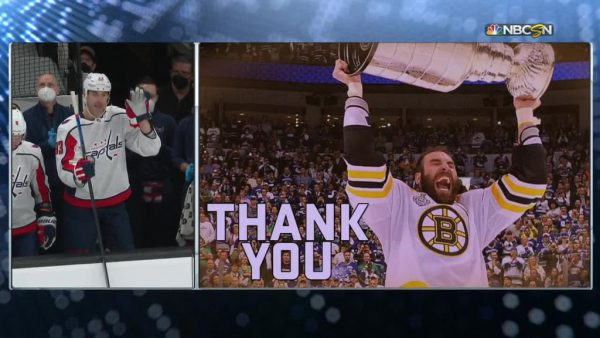 Chara returns to play Bruins in Capitals uniform, gets video tribute